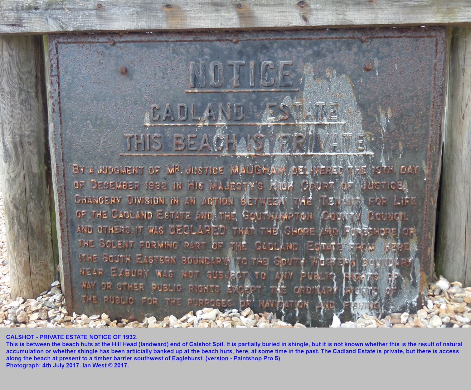 Old metal notice indicating the private nature of the shore of the Cadland Estate