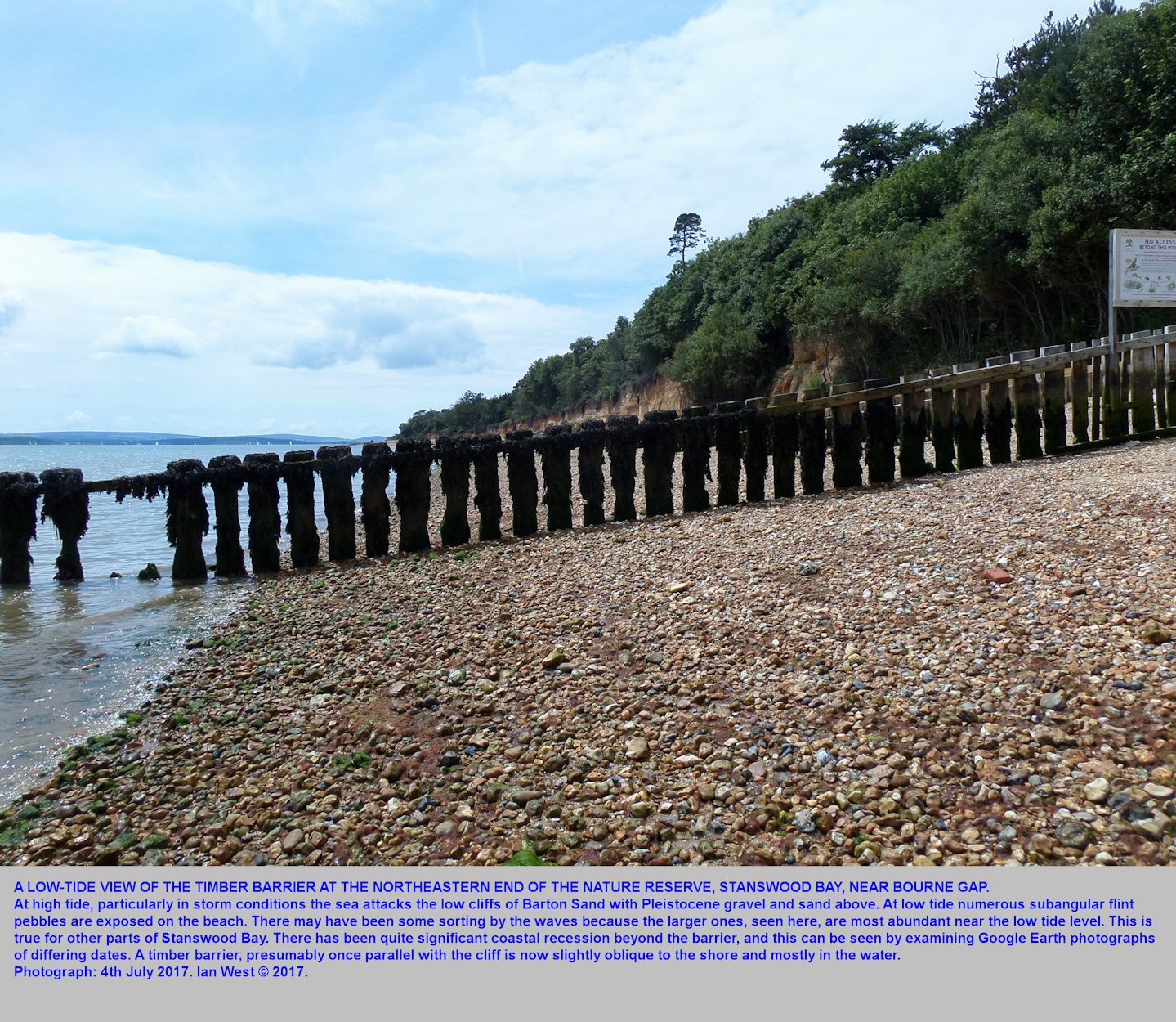 The timber barrier at the northeastern end of the Nature Reserve, Stanswood Bay, near Calshot Spit, Hampshire