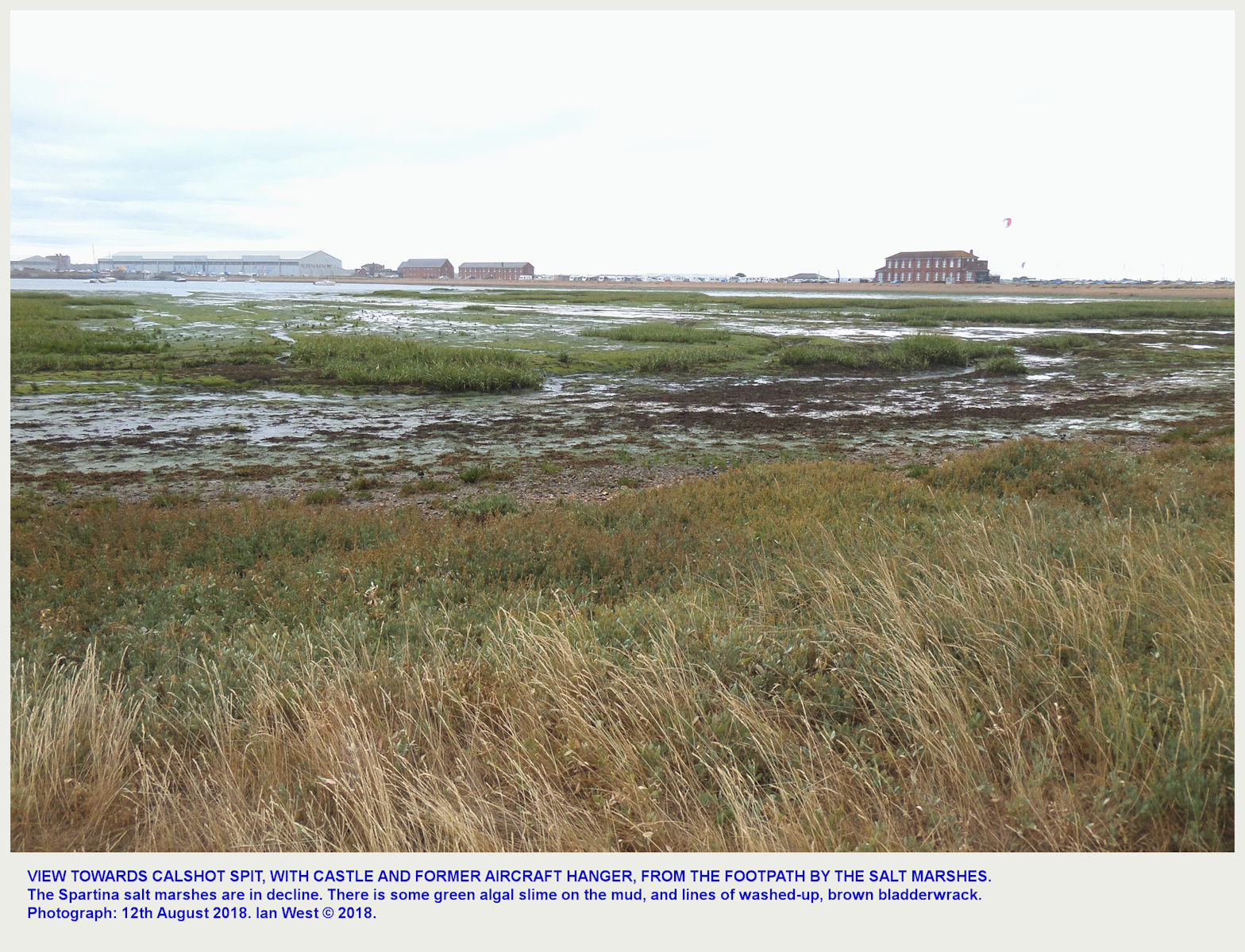 A view of the end of Calshot Spit with the castle, far left, and the large, former, hanger, as seen from the footpath at the edge of the marshes on the Southampton Water side, 12th August 2018