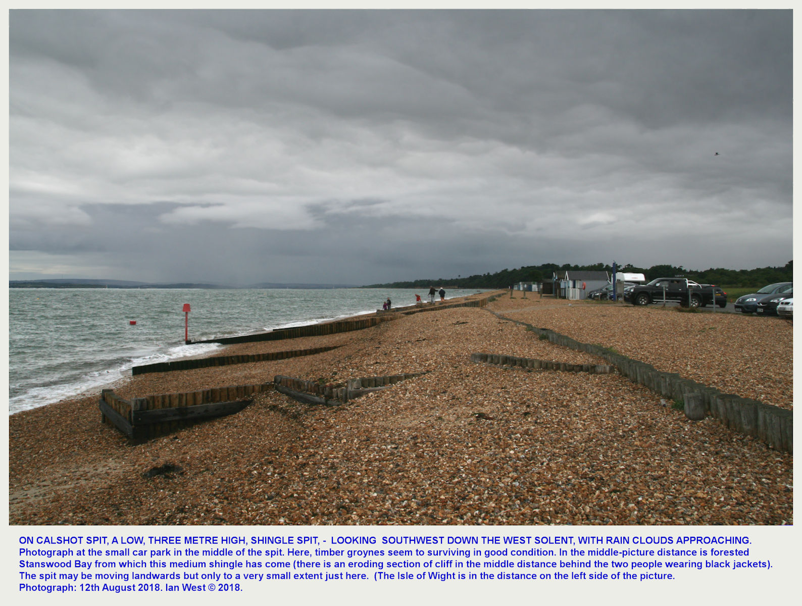 At the small car park in the middle part of the 3-metre high, Calshot Spit, with storm clouds approaching in the West Solent, 12th August 2018