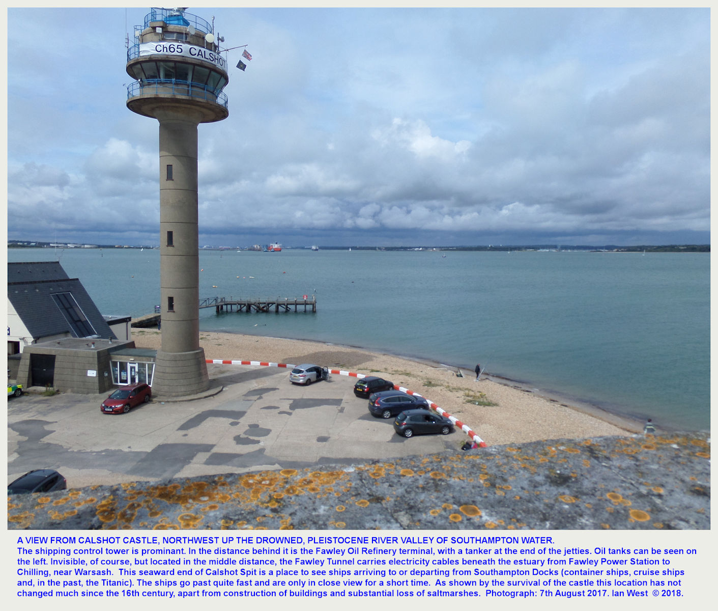 The tower for controlling the movement of ships and Southampton Water beyond, as seen from the top of Calshot Castle, Calshot Spit, 8th August 2018