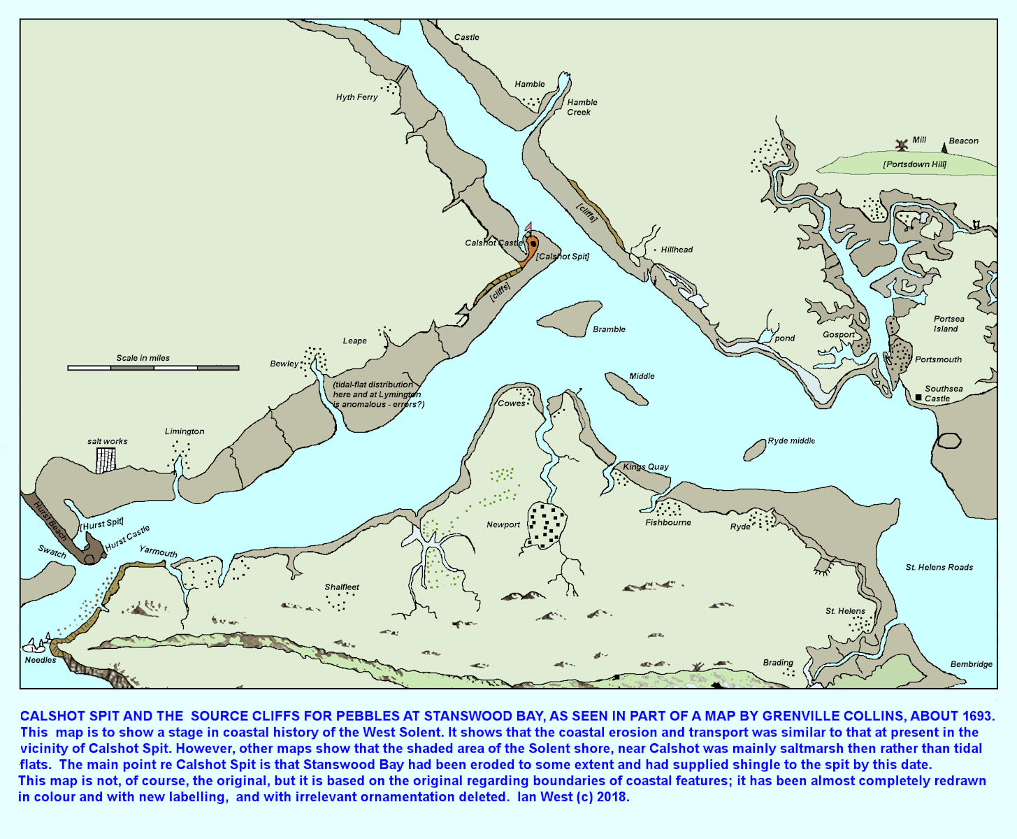Grenville Collins map of the Solent estuary at about 1693, redrawn, with some simplication, Ian West 2018
