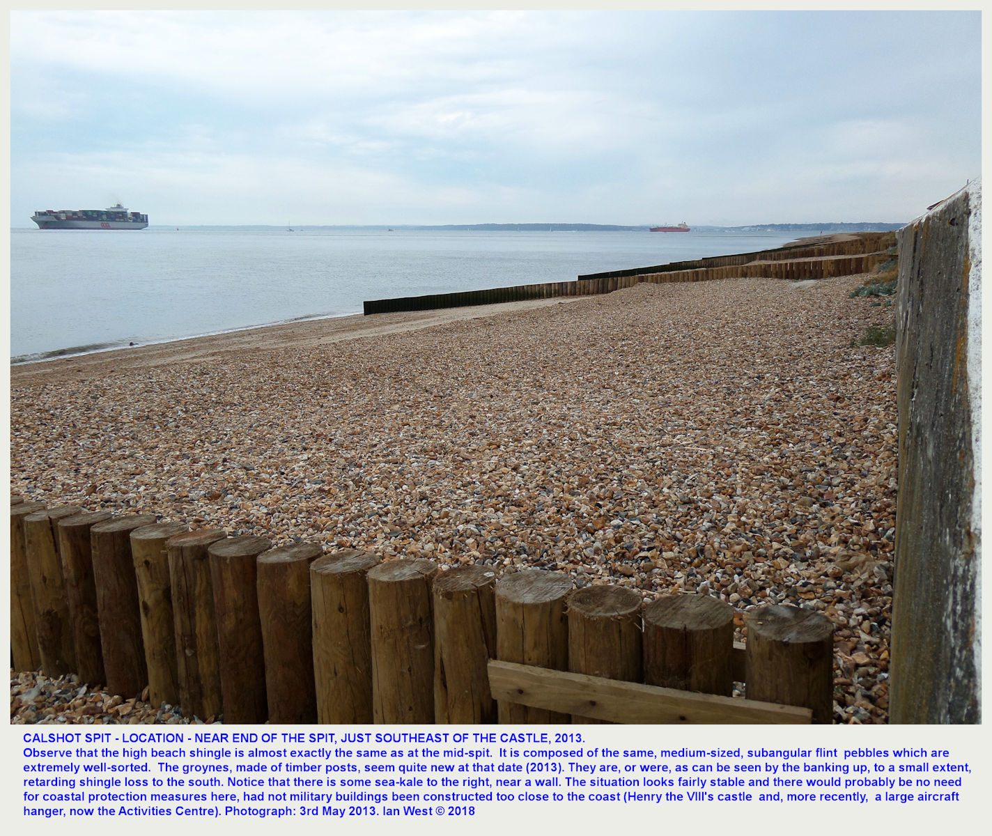 The medium-size, flint shingle beach near the end of Calshot Spit, just southeast of the Castle, as seen in 2013, at that time in good condition with fairly new timber groynes