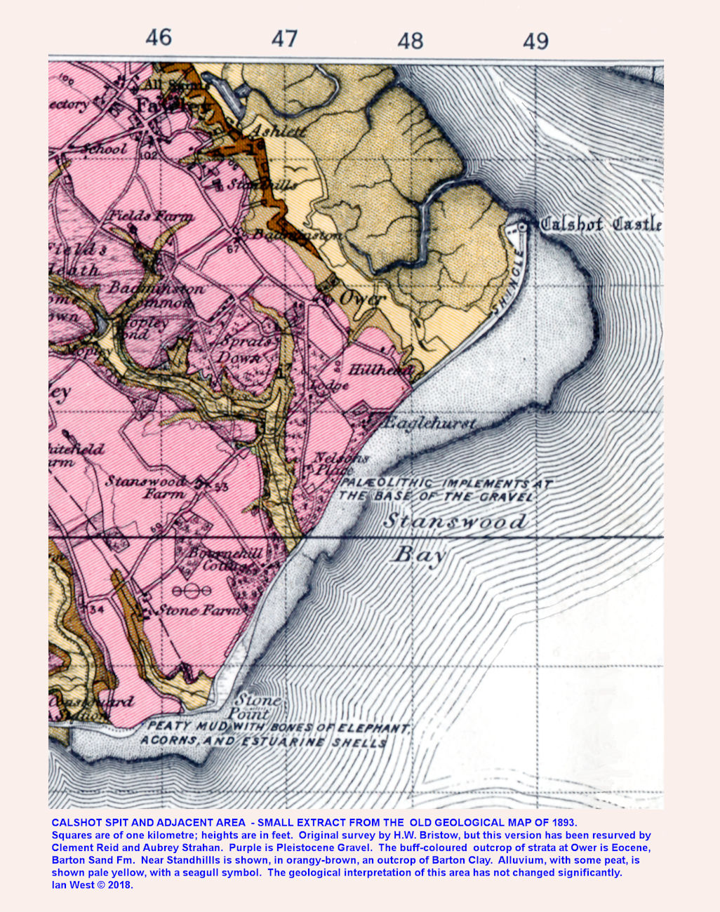 Geology of Calshot Spit as shown on a small part of the old Geological Survey Map, Lymington Sheet, No. 330, Drift, 1893 edition