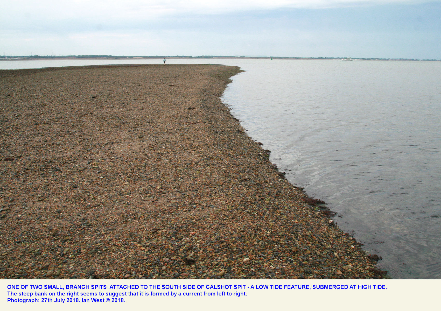 One of the low-tide, subsidiary spits of dark shingle, near the middle of Calshot Spit, seen at low tide, 27th June 2018, with a person in the distance for scale