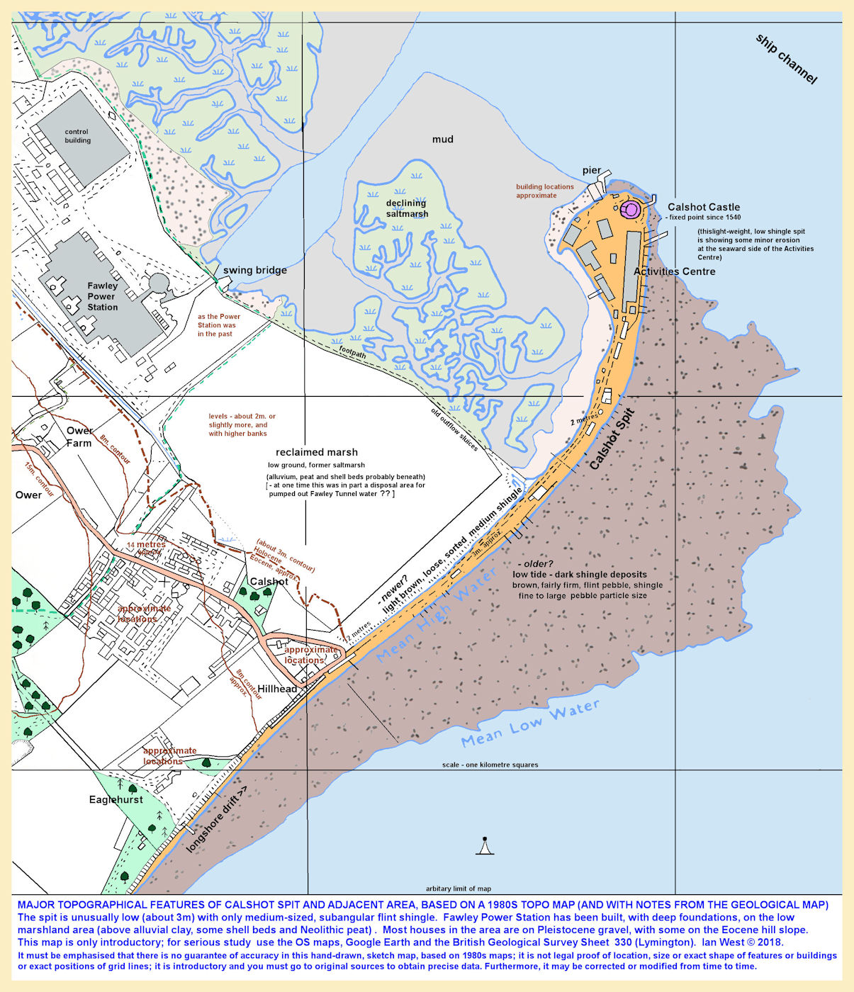 Introductory general topography of Calshot Spit and adjacent area as in the 1980s, completely redrawn with some additional notes, not for precise use or measurement, but just intended for general topographic and location purposes