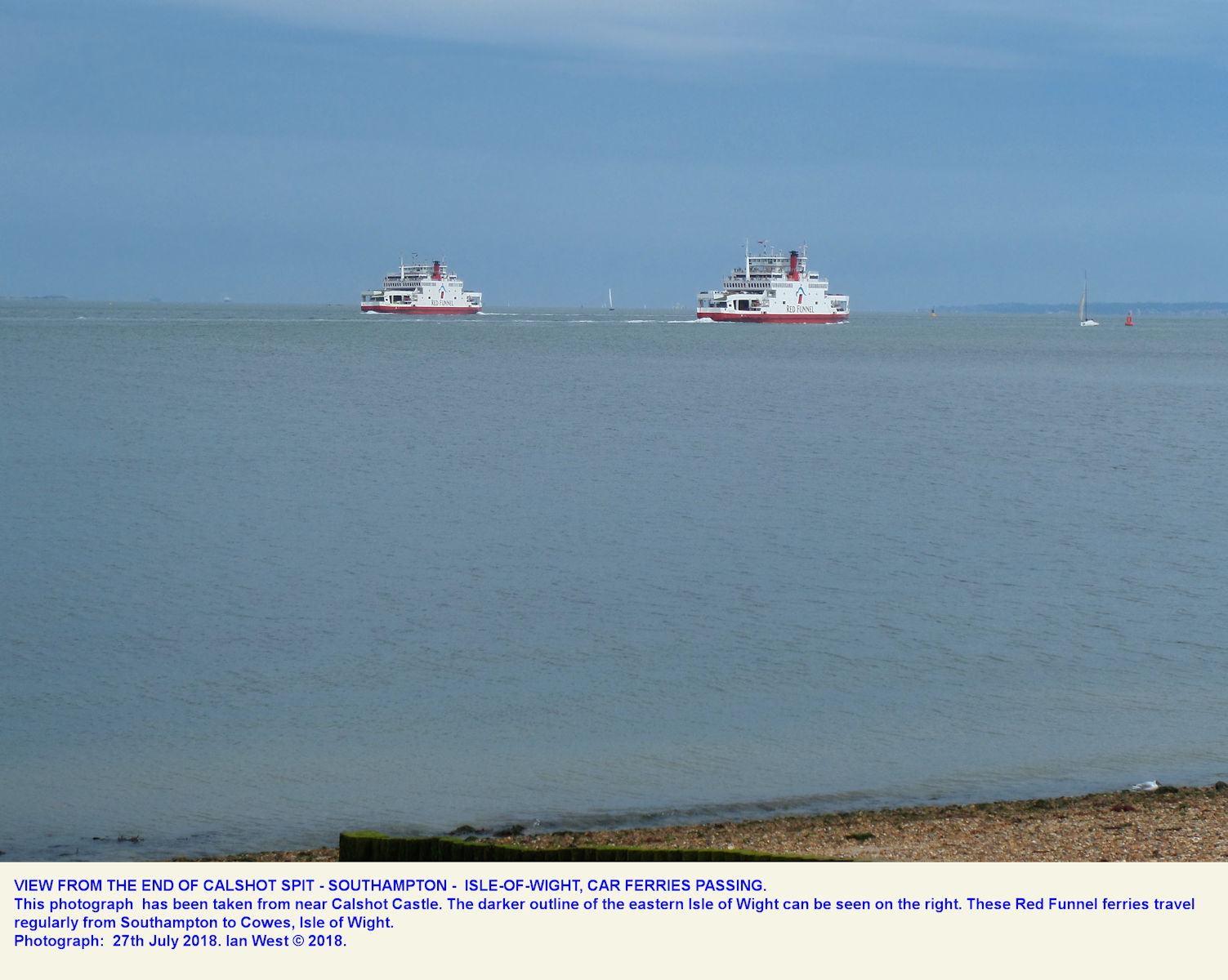 Seen from the end of Calshot Spit, two passing ferries on the Southampton - Cowes, Isle of Wight route, 27th June 2018