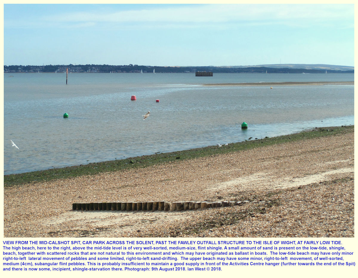 A view across the Solent to the Isle of Wight from the mid-spit car park at the seaward side of the road down Calshot Spit
