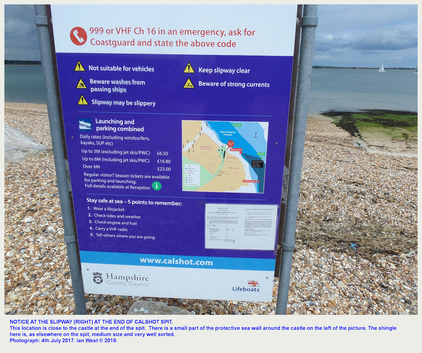 A warning notice at a concrete launching ramp at the end of Calshot Spit, adjacent to the castle, as seen in 2017