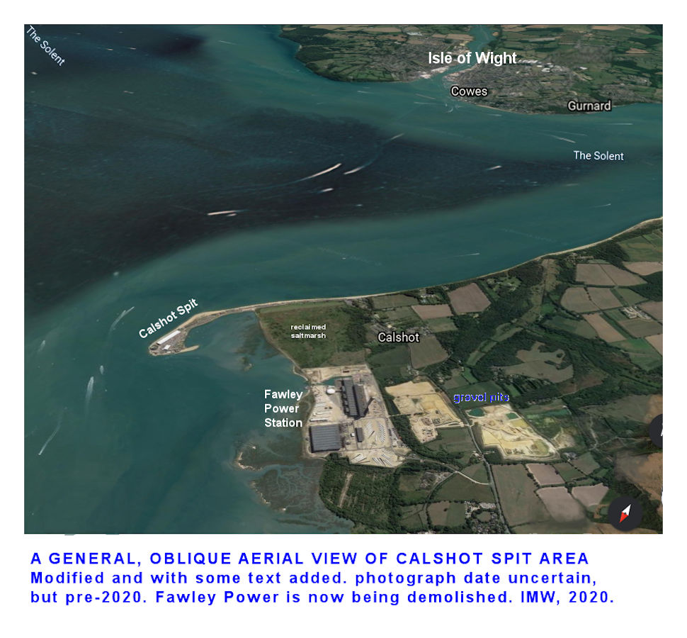 An introductory, oblique, aerial photograph of Calshot Spit and the adjacent Fawley area