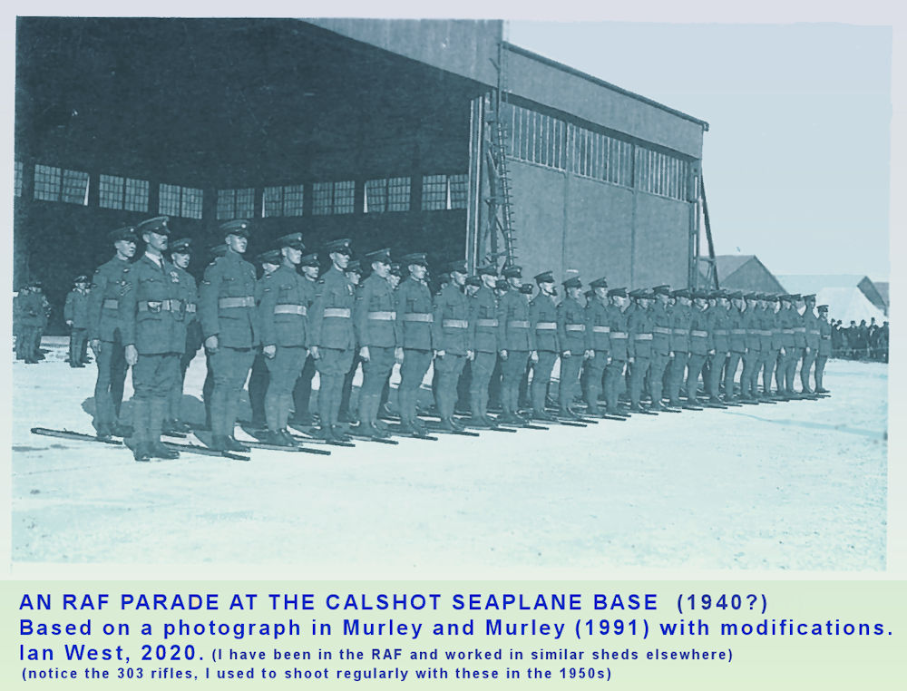 RAF airmen on parade at the Calshot Spit, RAF seaplane base, perhaps at about 1940