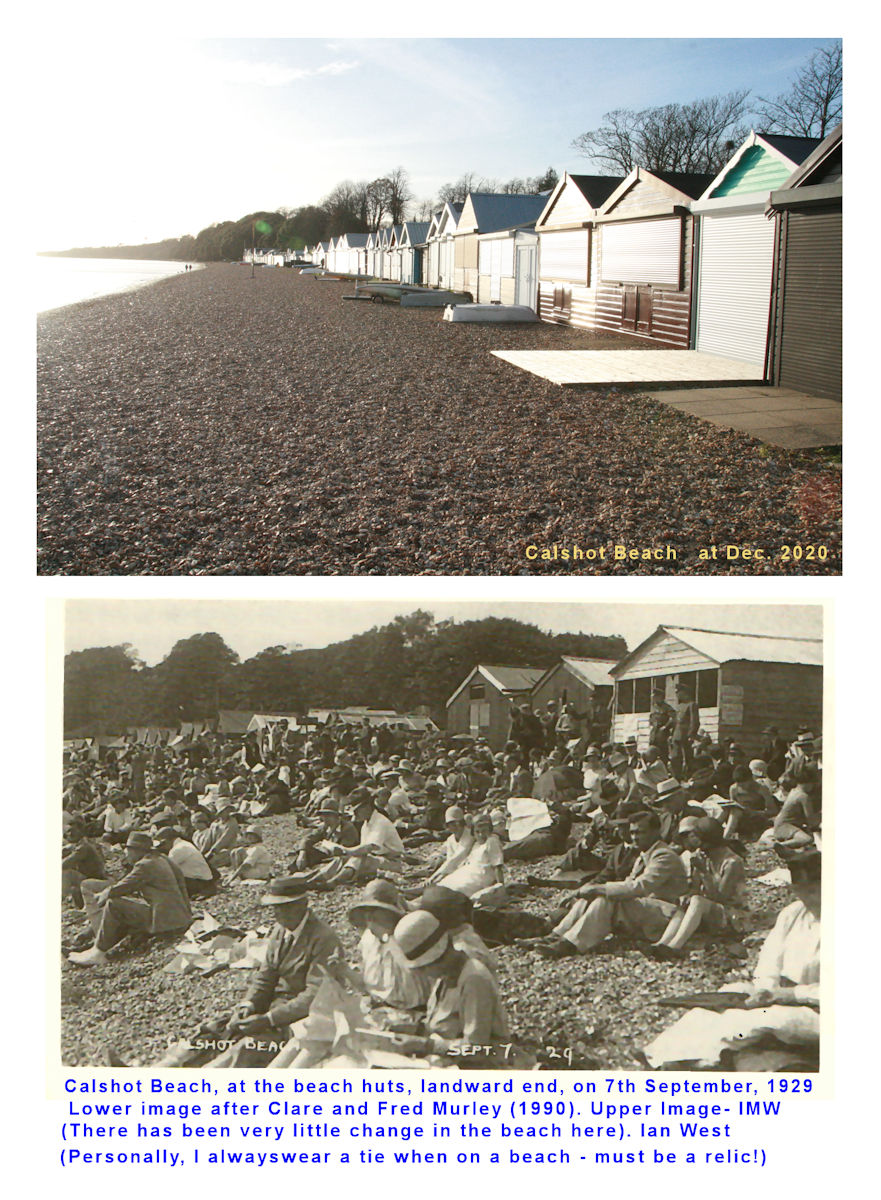 People on the beach near the landward end of Calshot Spit, in September 1929, after Clare and Fred Murley, Waterside, a Pictorial Past - recommended