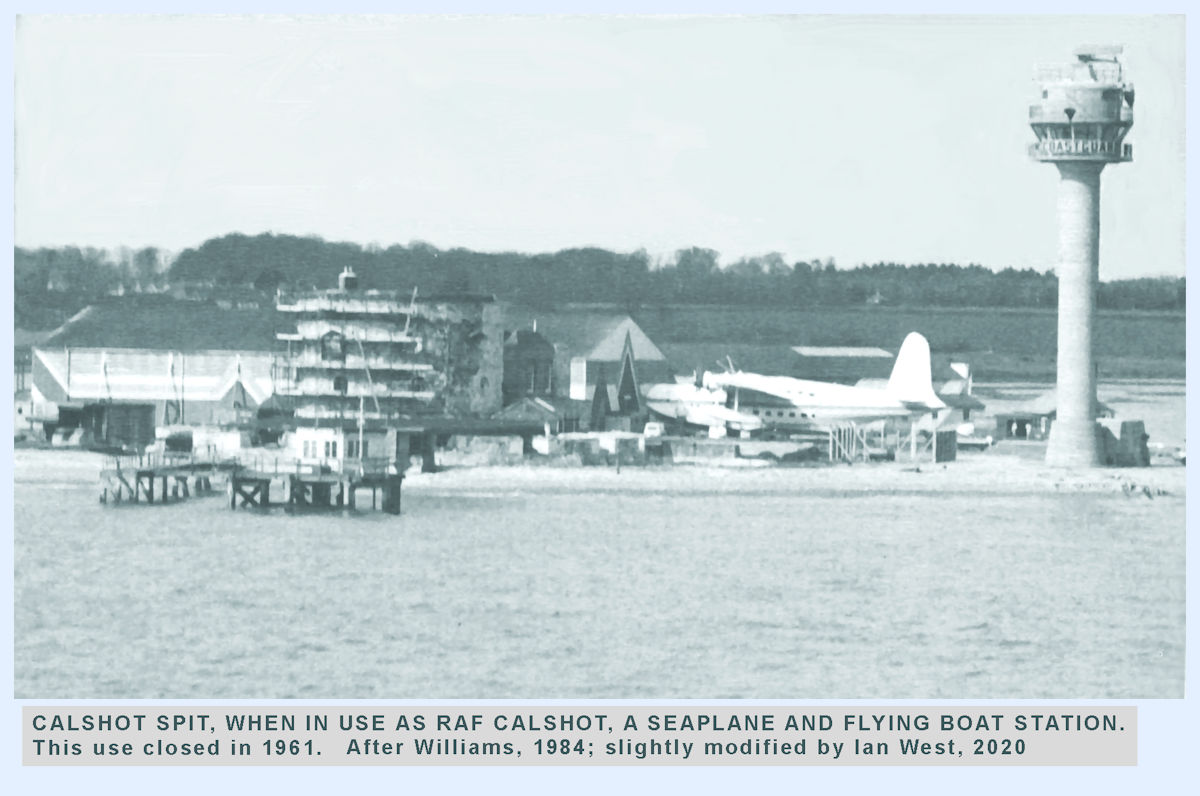 A flying boat at the former RAF Calshot base, near the Coastguard tower and the large aircraft hangers