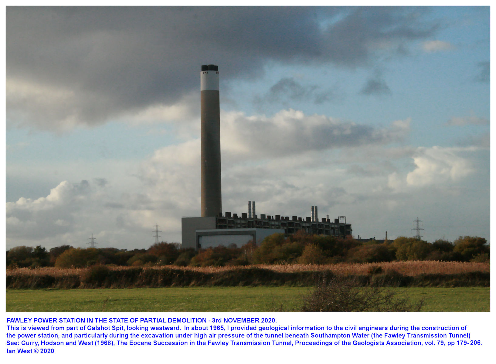 The Fawley Power Station, as seen here from the road down Calshot Spit on the 3rd November, 2020, is being prepared for demolition
