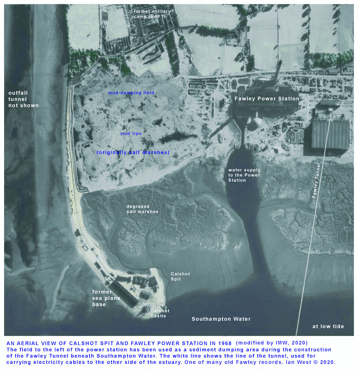A modified, old aerial photograph of Calshot Spit and the Fawley Power Station area, the original was taken in 1968