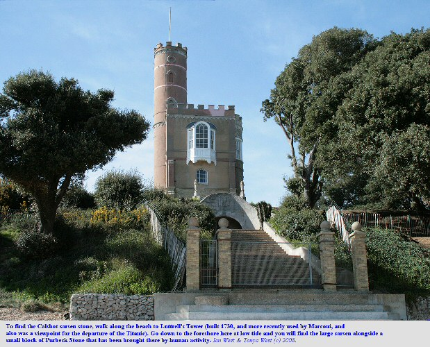 Luttrell's Tower in Stanswood Bay, near Calshot Spit, Solent, Hampshire