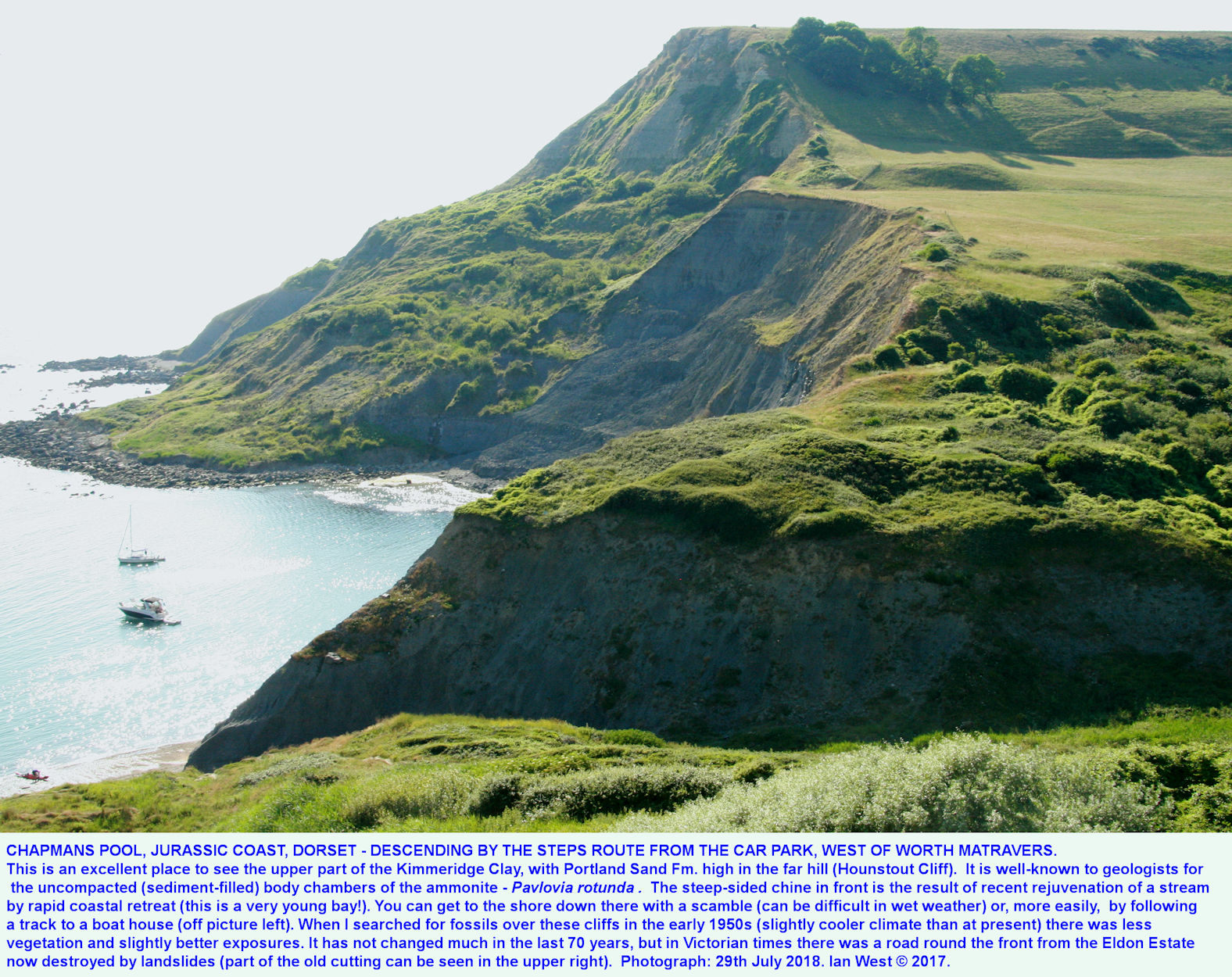 General view of Chapman's Pool, Dorset, and of Hounstout Cliff, when descending by the steps, the steeper route from the car park, 29th July 2018, Ian West