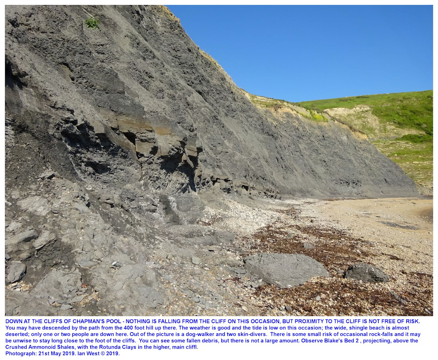 The Upper Kimmeridge Clay, cliffs of Chapman's Pool as seen from the almost-deserted beach at the western side of Chapman's Pool, Dorset, 21st May 2019