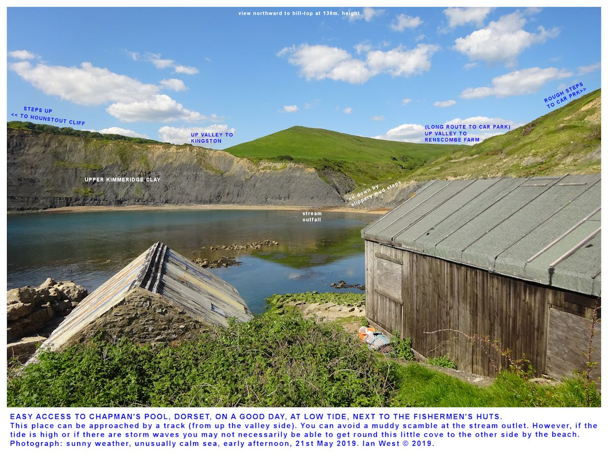 View across Chapman's Pool towards Hounstout Cliff from the fishermen's huts in calm, warm conditions, 21st May 2019, by Ian West