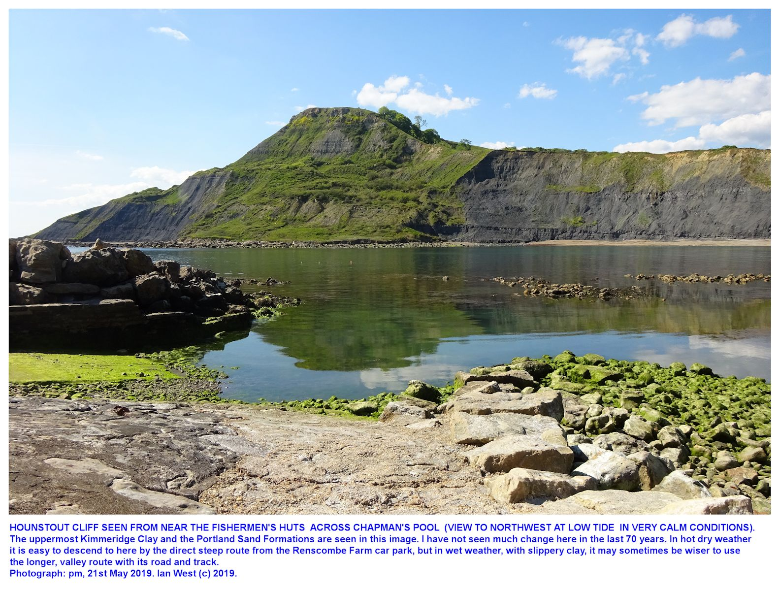 View northwest across Chapman's Pool towards Hounstout Cliff in very calm, warm conditions, 21st May 2019, by Ian West