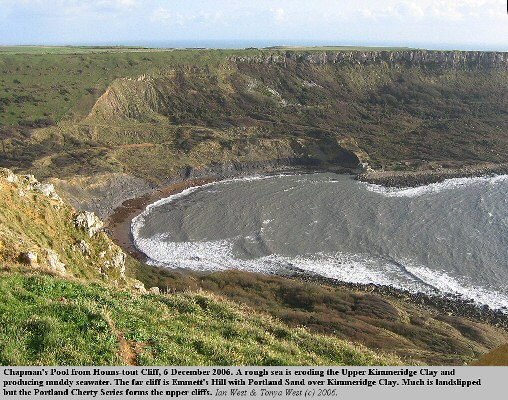 Chapman's Pool, Dorset, view from Houns-tout, with muddy water from the erosion of Upper Kimmeridge Clay, 6 December 2006