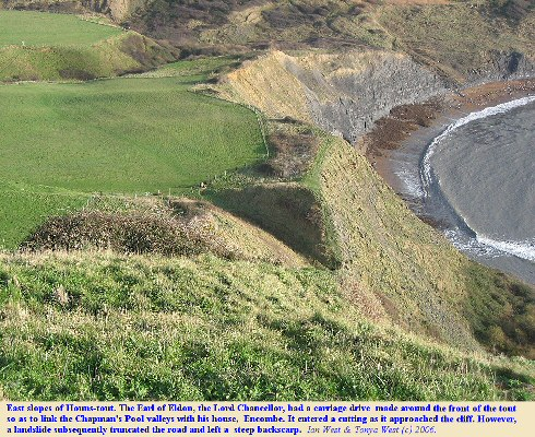 A cutting for Lord Eldon's carriage drive round Hounstout Cliff, Chapman's Pool, Dorset, truncated by a landslide, photo 6 Dec 2006