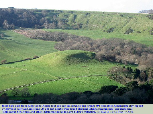 View down into the Encombe valley, near Chapmans Pool, Dorset, with a knoll, near which were found remains of Pleistocene elephants and rhinoceras