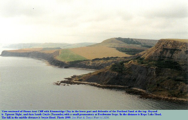 Cliffs of Kimmeridge Clay with Portland Sand above at Hounstout Cliff, near Chapman's Pool, Dorset, with Kimmeridge Clay cliffs beyond to Rope Lake Head, 1999