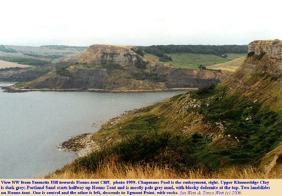 View NW from Emmetts Hill to Houns-tout Cliff in 1999 with Chapman's Pool to the right