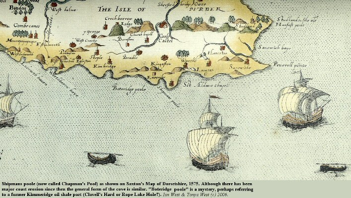 Shipmans Poole, now known as Chapman's Pool, Dorset, as shown on Saxton's 1575 map of Dorsetshire