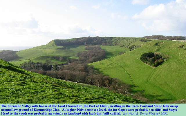 The Encombe Valley with the Earl of Eldon's house, Encombe, in the trees and Swyre Head beyond, near Chapman's Pool, Dorset