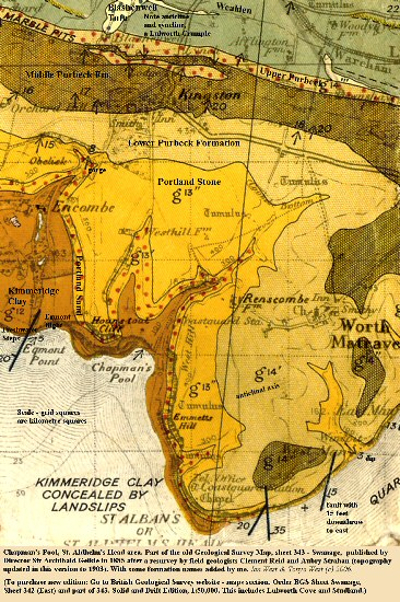Old geological map (1895) of Chapman's Pool, and St. Aldhelm's Head area, Dorset, England