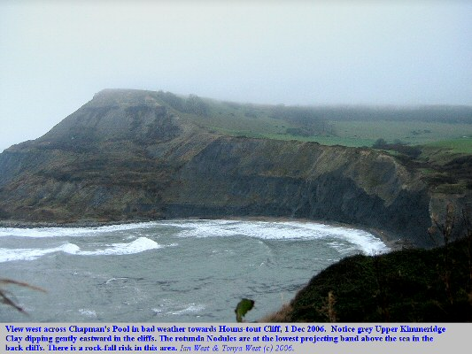 Chapman's Pool, Dorset, in wet and windy conditions, 1st Dec 2006, showing dipping Upper Kimmeridge Clay