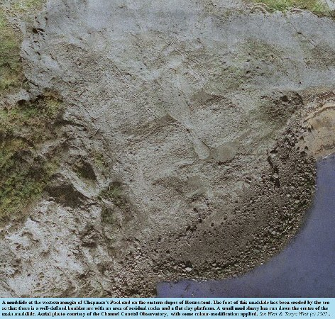 Aerial view of a mudslide that has transported large blocks of Portland limestone or dolomite to the shore on the west side of Chapman's Pool, Dorset