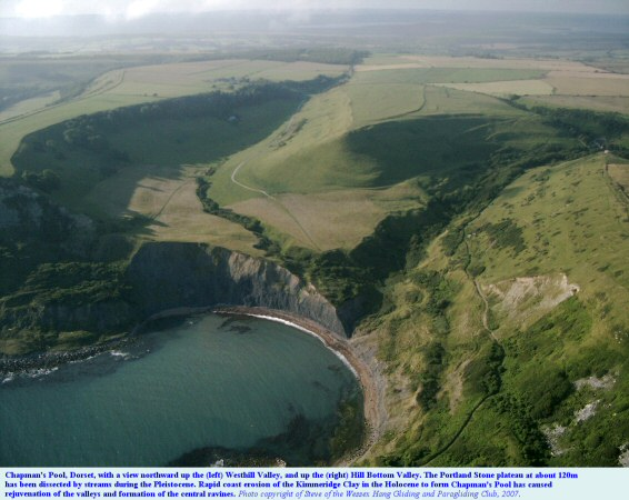 Chapman's Pool, Dorset, and the valley system, as seen from a paraglider, 2007
