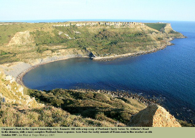 A general view of Chapman's Pool, Dorset, Emmetts Hill and St. Aldhelm's Head, seen in fine weather, October 2007