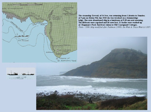 Chapman's Pool, Dorset, was the site of the steamship Treveal disaster in January 1920