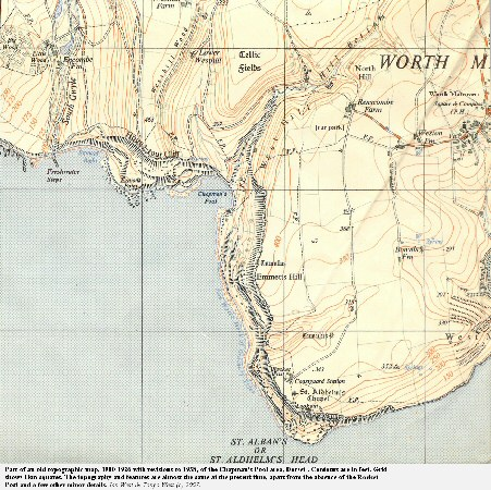 A topographic map, 1900-1926 with revisions to 1938, of the Chapman's Pool and St. Aldhelm's Head area, Dorset