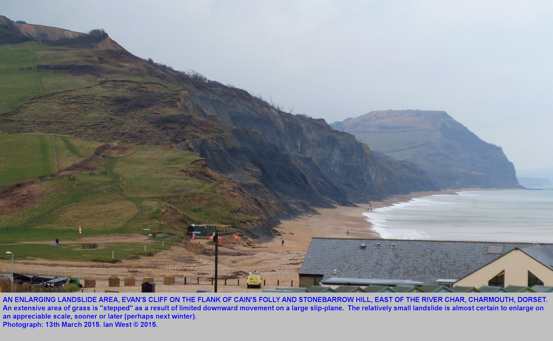 Englargement of the Evan's Cliff Landslide, east of the River Char, Charmouth, Dorset, seen as steps in the grass slope, 13th March 2015