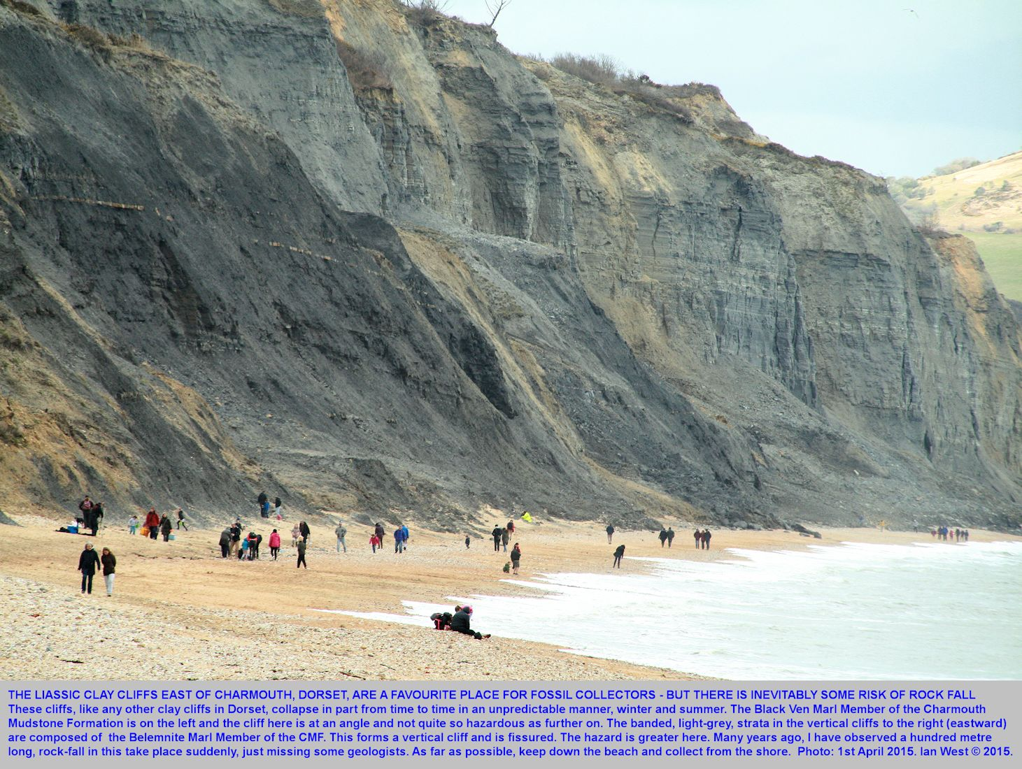 Risk of rock fall in the cliffs of Lower Lias, east of Charmouth, Dorset, photograph - 1st April 2015