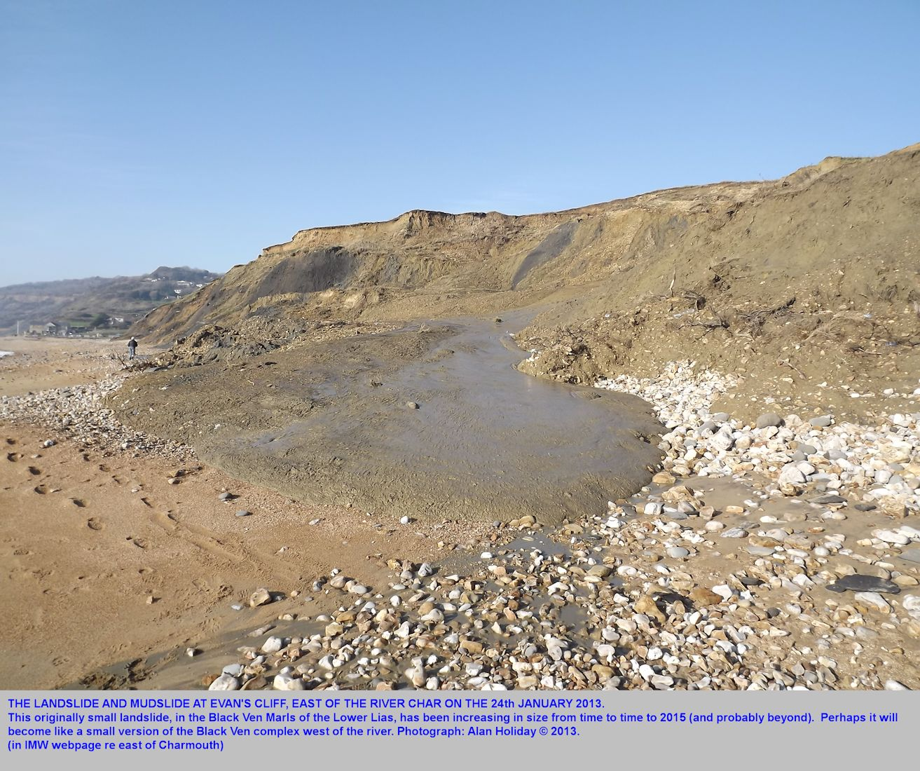 The muddy seaward end of the landslide at Evan's Cliff, east of the river Char at Charmouth, Dorset, as photographed by Alan Holiday on 24th January 2013