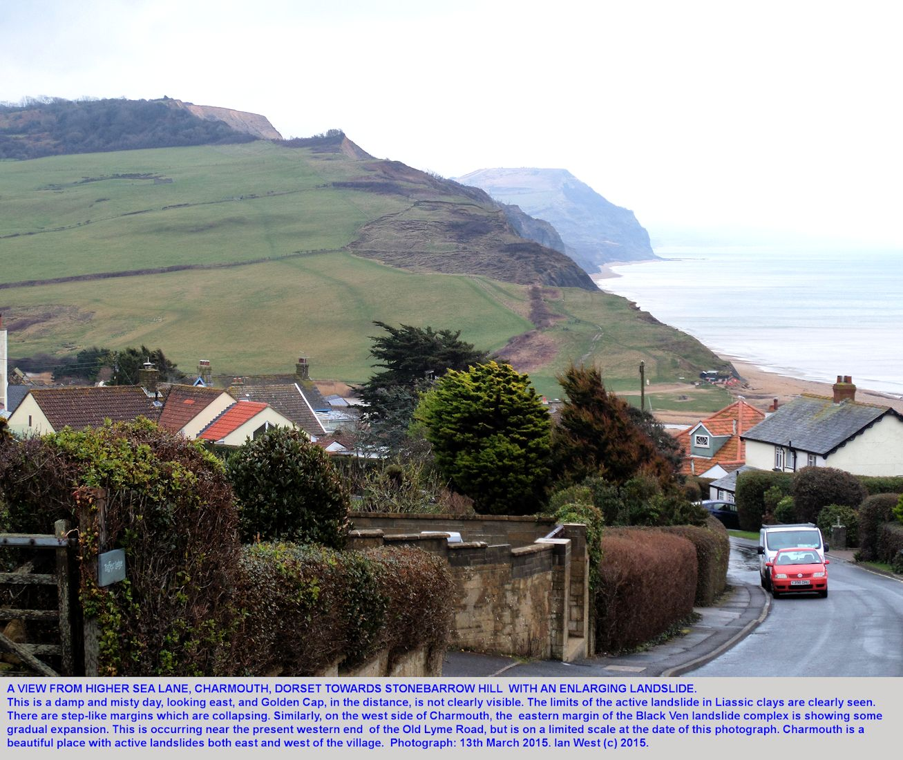 The landslide on the slopes up to Stonebarrow Hill, and just east of Charmouth sea front, Dorset, 13th March 2015