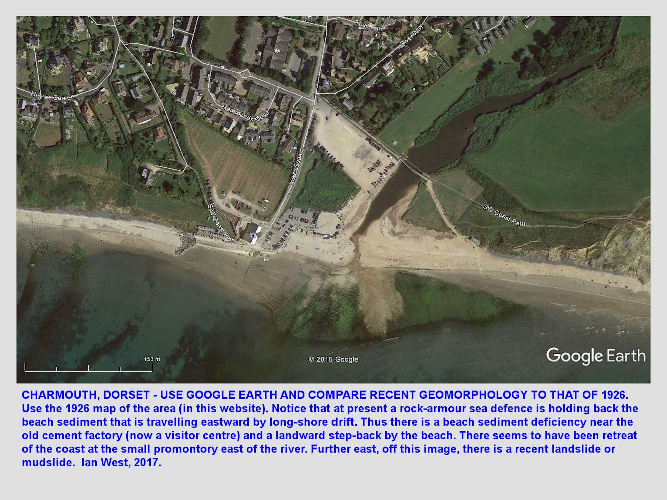 Go to GE and compare a modern aerial photograph with the 1926 map of the mouth of the Char at Charmouth, Dorset