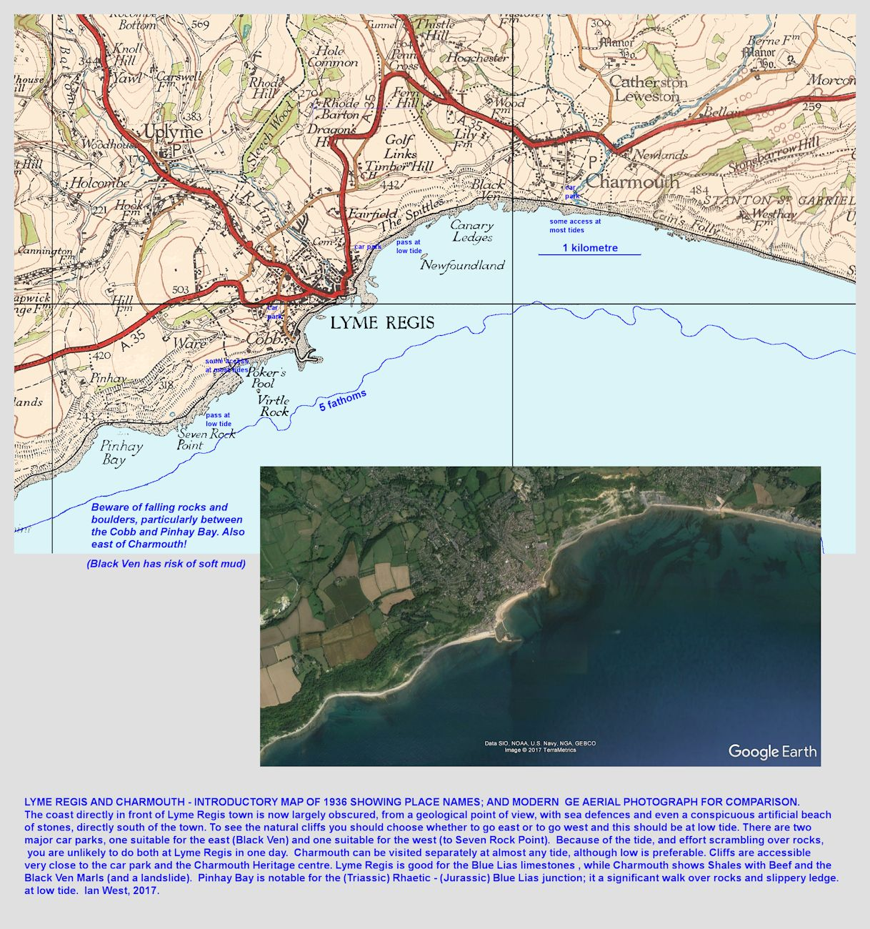 Location map and aerial photograph for Charmouth and Lyme Regis, Dorset; - geological localities