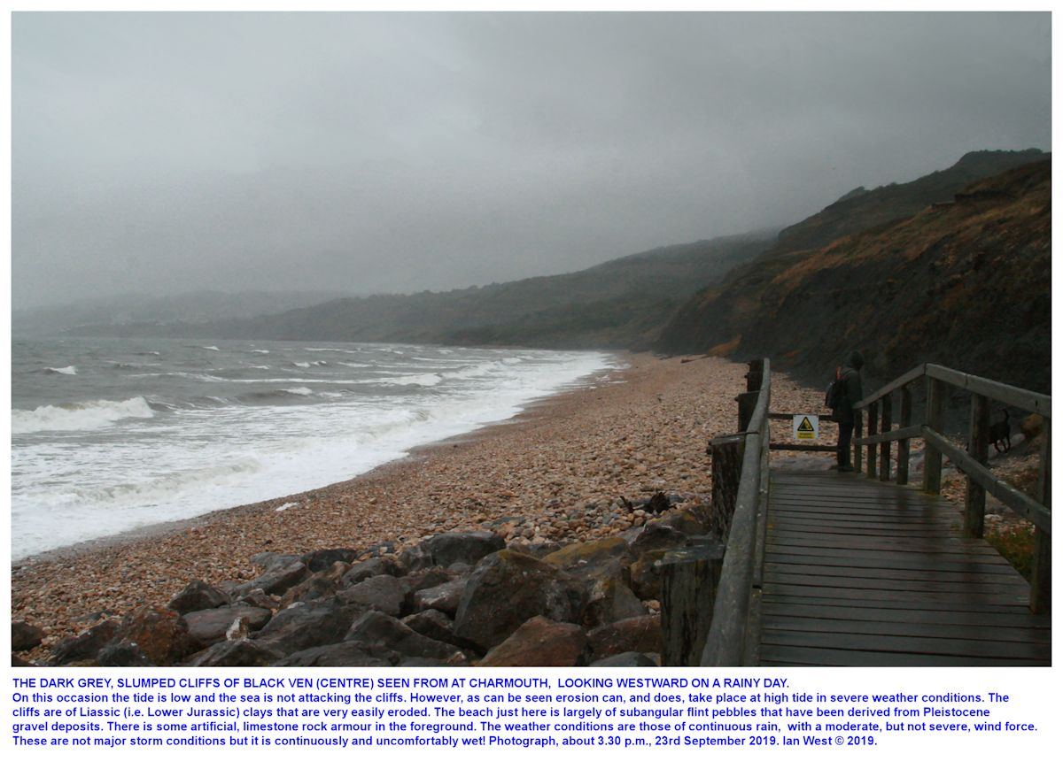 Looking westward from Charmouth sea front towards Black Ven in rainy weather condition, 23rd September 2019, Ian West