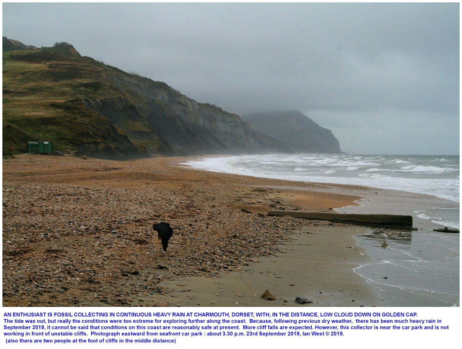 Looking eastward from the sea-front at Charmouth, Dorset, towards Golden-Cap, in wet,  stormy conditions, 22rd September 2019, Ian West