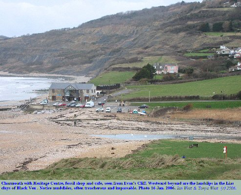 Charmouth, Dorset, seen from Evan's Cliff, and looking westward. Note Black Ven and the landslips. Jan 2006.