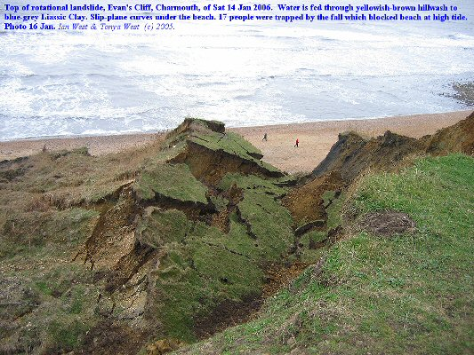 Landslide in the Black Ven Marls at Evan's Cliff, Charmouth, Dorset, 16th Jan 2006