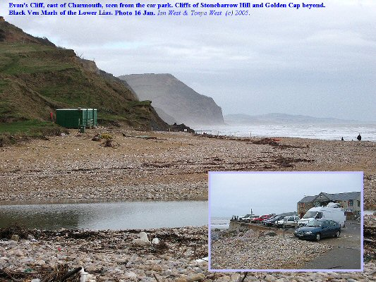 View eastward from the car park at Charmouth, Dorset; Lower Lias clays, January 2005