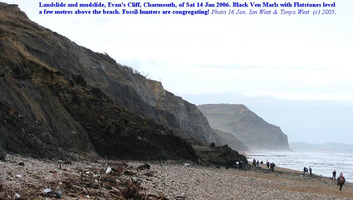 Landslide in the Black Ven Marls at Evan's Cliff, Charmouth, Dorset, 16 Jan 2006, with fossil hunters congregating at the base